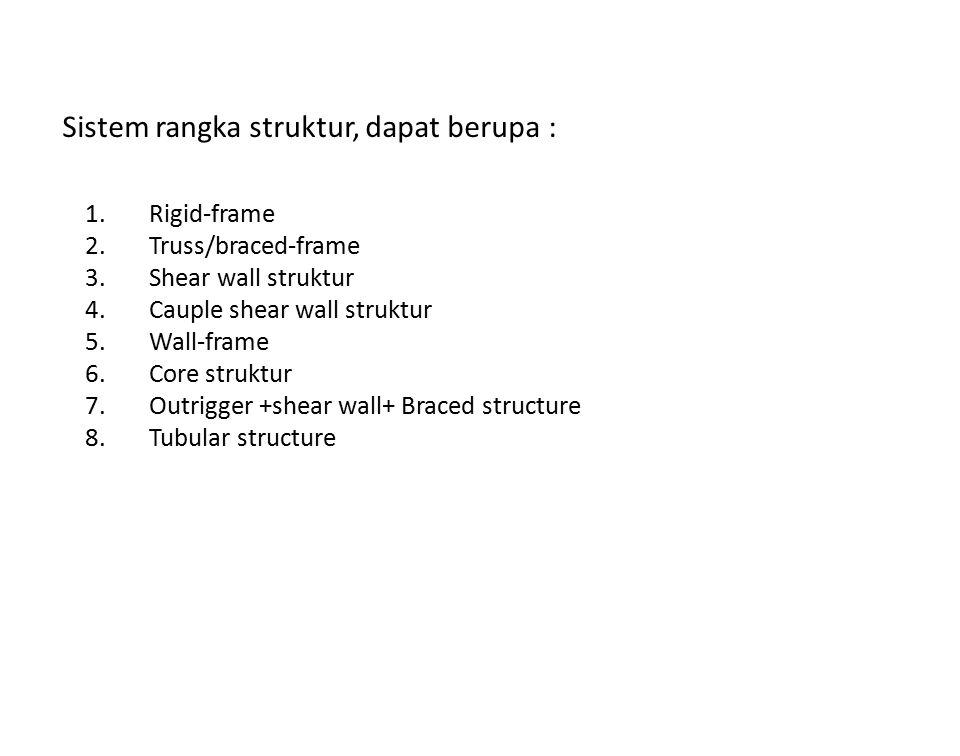 Sistem rangka struktur, dapat berupa : 1.Rigid-frame 2.Truss/braced-frame 3.Shear wall struktur 4.Cauple shear wall struktur 5.Wall-frame 6.Core struk