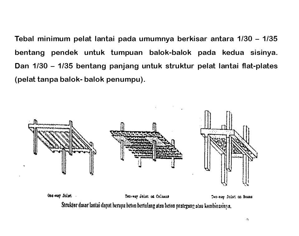 Tebal minimum pelat lantai pada umumnya berkisar antara 1/30 – 1/35 bentang pendek untuk tumpuan balok-balok pada kedua sisinya. Dan 1/30 – 1/35 benta