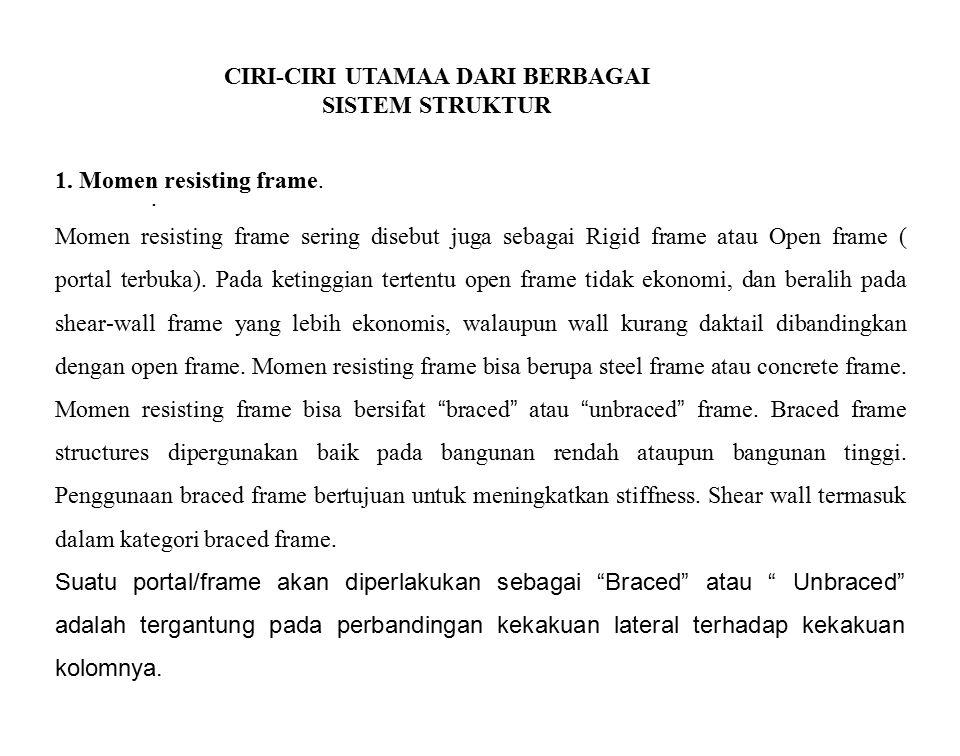 CIRI-CIRI UTAMAA DARI BERBAGAI SISTEM STRUKTUR. Momen resisting frame sering disebut juga sebagai Rigid frame atau Open frame ( portal terbuka). Pada