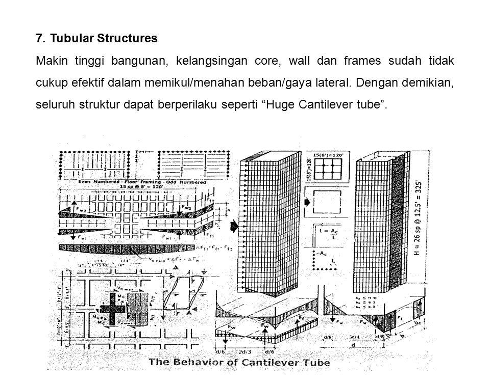 7. Tubular Structures Makin tinggi bangunan, kelangsingan core, wall dan frames sudah tidak cukup efektif dalam memikul/menahan beban/gaya lateral. De