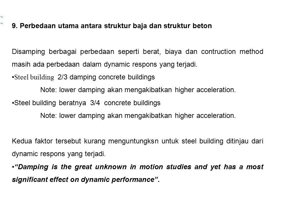 9. Perbedaan utama antara struktur baja dan struktur beton Disamping berbagai perbedaan seperti berat, biaya dan contruction method masih ada perbedaa