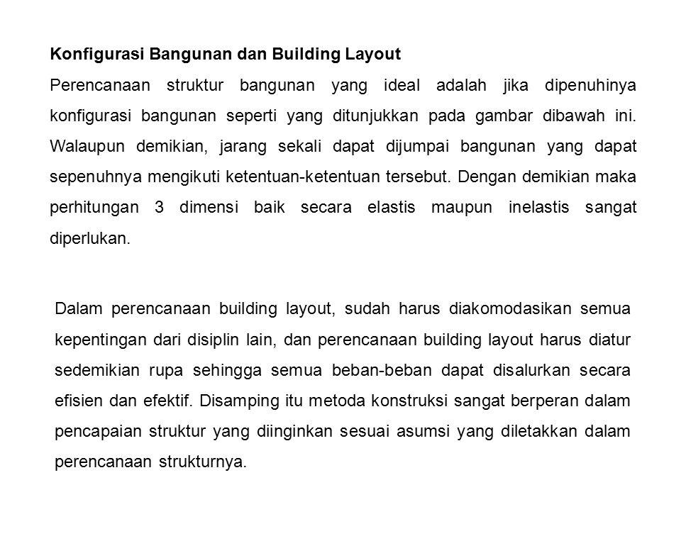 Konfigurasi Bangunan dan Building Layout Perencanaan struktur bangunan yang ideal adalah jika dipenuhinya konfigurasi bangunan seperti yang ditunjukka