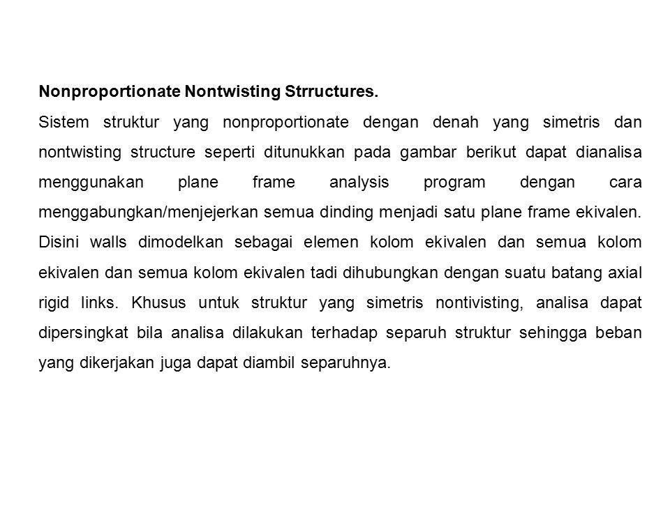 Nonproportionate Nontwisting Strructures. Sistem struktur yang nonproportionate dengan denah yang simetris dan nontwisting structure seperti ditunukka