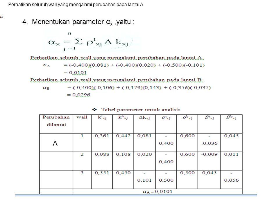 4. Menentukan parameter α x,yaitu : Perhatikan seluruh wall yang mengalami perubahan pada lantai A. A