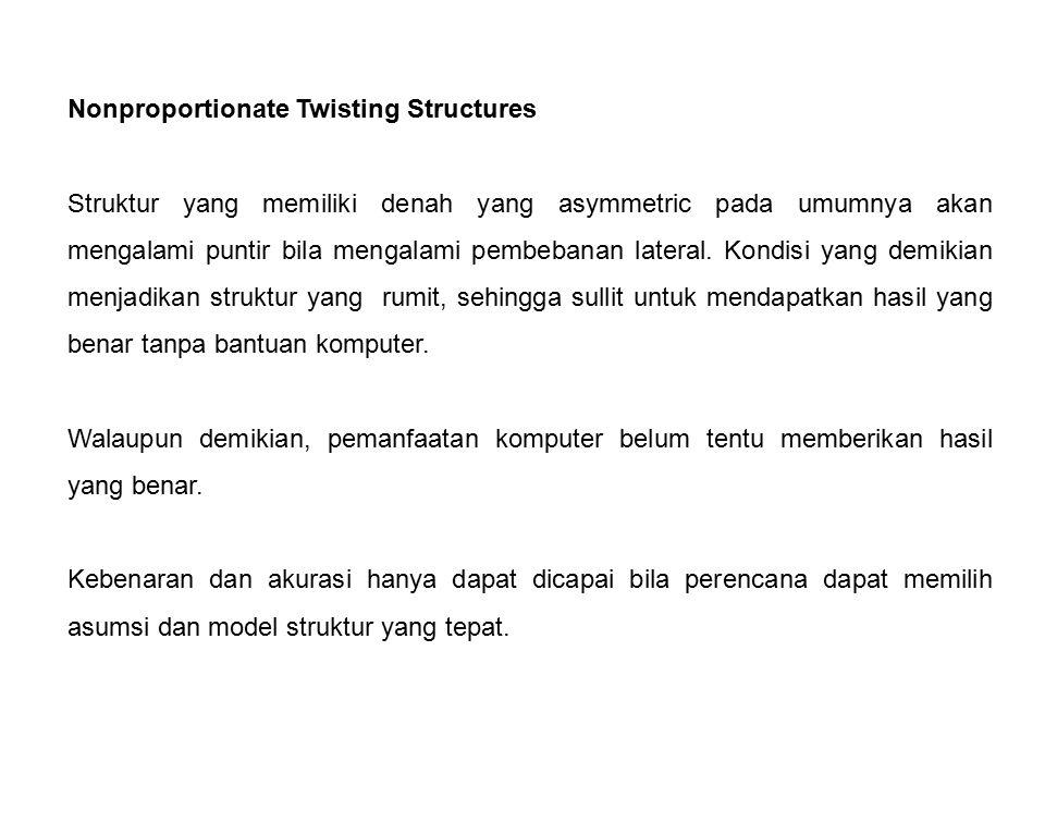 Nonproportionate Twisting Structures Struktur yang memiliki denah yang asymmetric pada umumnya akan mengalami puntir bila mengalami pembebanan lateral