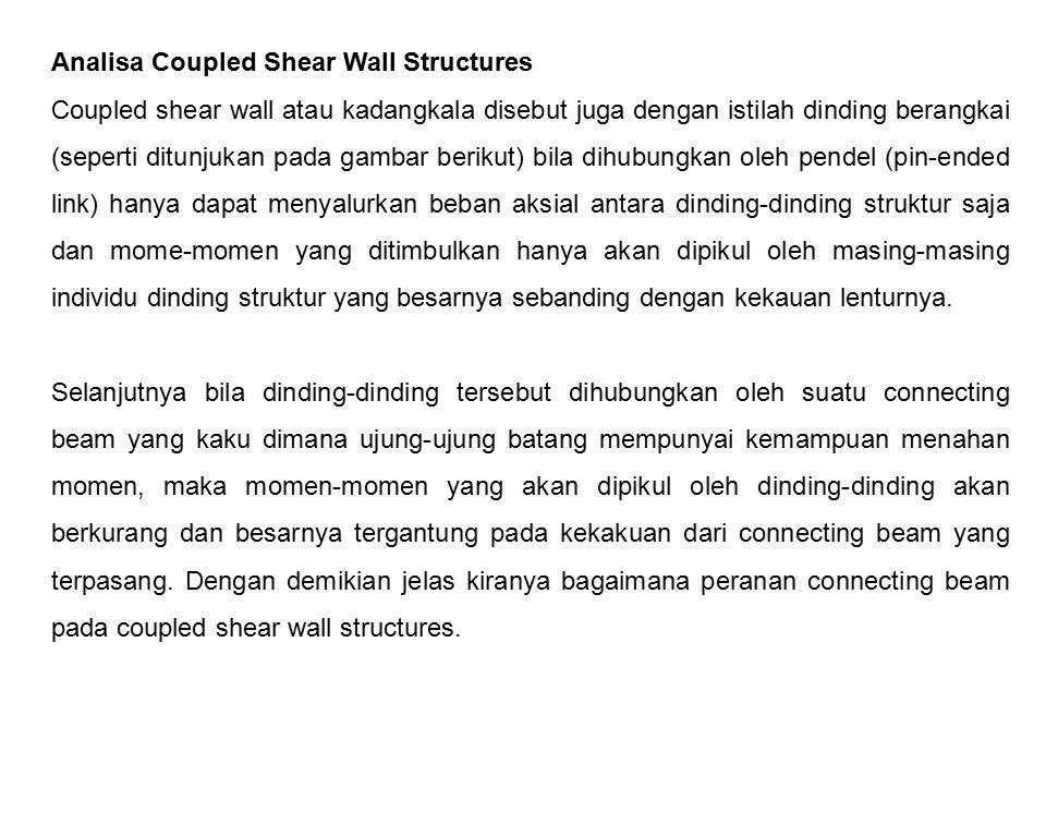 Analisa Coupled Shear Wall Structures Coupled shear wall atau kadangkala disebut juga dengan istilah dinding berangkai (seperti ditunjukan pada gambar
