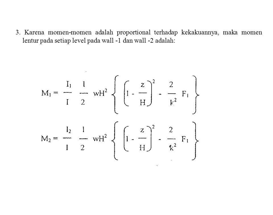3. Karena momen-momen adalah proportional terhadap kekakuannya, maka momen lentur pada setiap level pada wall -1 dan wall -2 adalah: