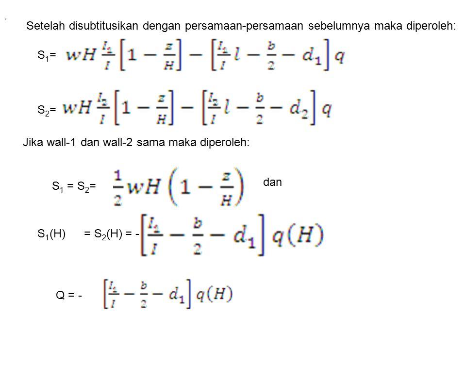Setelah disubtitusikan dengan persamaan-persamaan sebelumnya maka diperoleh: S2=S2= S1=S1= Jika wall-1 dan wall-2 sama maka diperoleh: S 1 = S 2 =, S