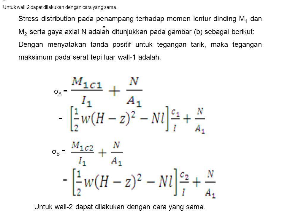 Stress distribution pada penampang terhadap momen lentur dinding M 1 dan M 2 serta gaya axial N adalah ditunjukkan pada gambar (b) sebagai berikut: De