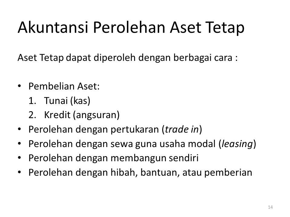 Akuntansi Perolehan Aset Tetap Aset Tetap dapat diperoleh dengan berbagai cara : Pembelian Aset: 1. Tunai (kas) 2. Kredit (angsuran) Perolehan dengan