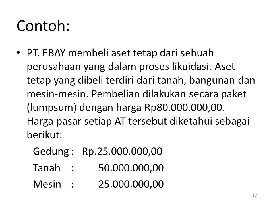 Contoh: PT. EBAY membeli aset tetap dari sebuah perusahaan yang dalam proses likuidasi. Aset tetap yang dibeli terdiri dari tanah, bangunan dan mesin-