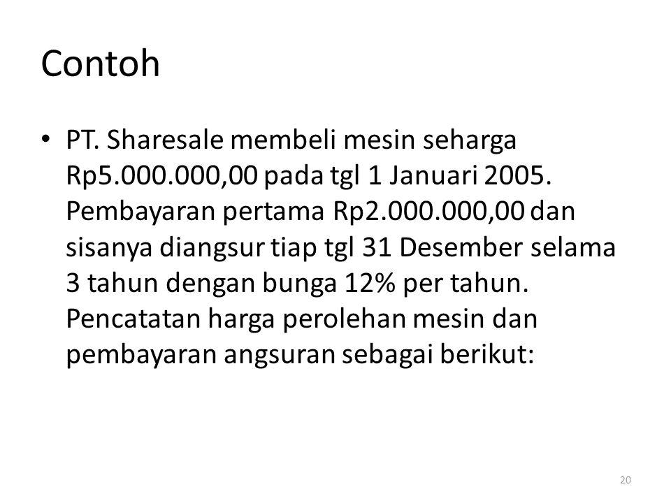 Contoh PT. Sharesale membeli mesin seharga Rp5.000.000,00 pada tgl 1 Januari 2005. Pembayaran pertama Rp2.000.000,00 dan sisanya diangsur tiap tgl 31