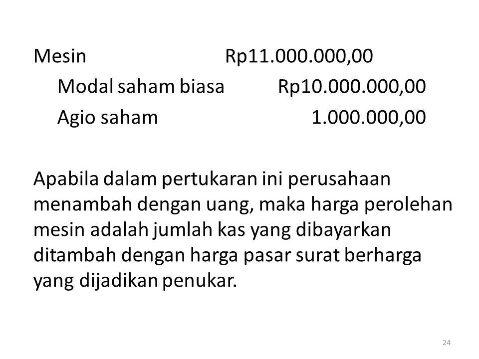 MesinRp11.000.000,00 Modal saham biasa Rp10.000.000,00 Agio saham 1.000.000,00 Apabila dalam pertukaran ini perusahaan menambah dengan uang, maka harg