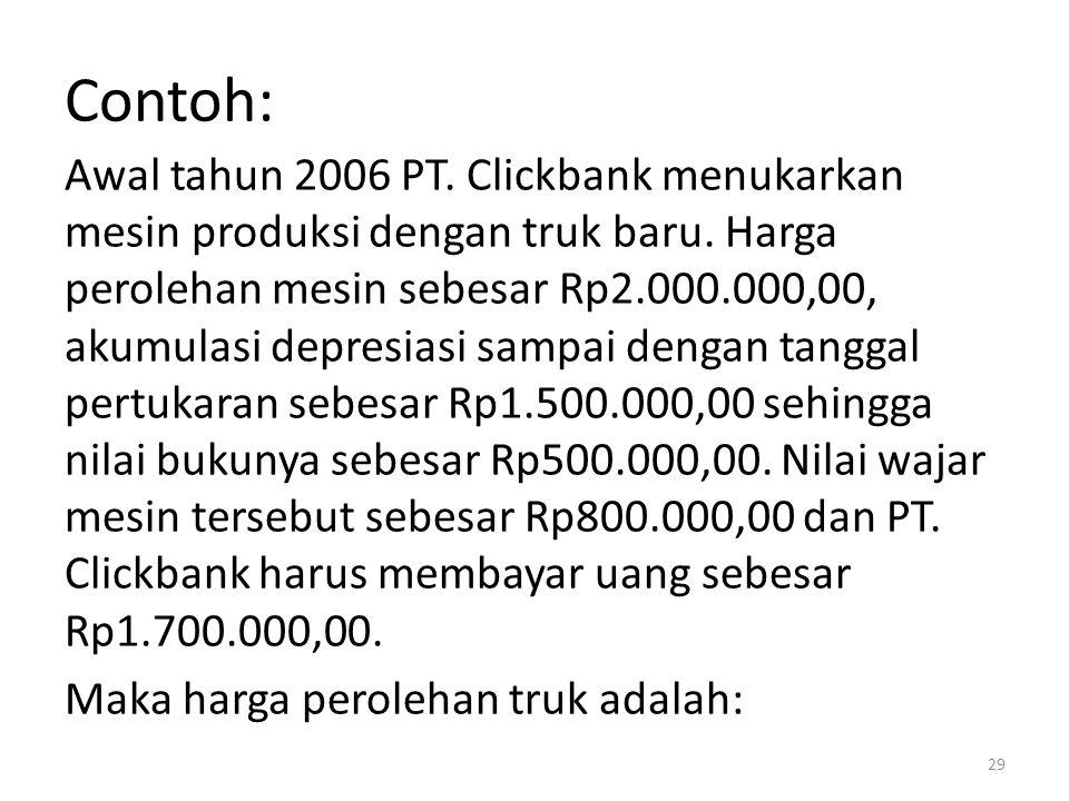 Contoh: Awal tahun 2006 PT. Clickbank menukarkan mesin produksi dengan truk baru. Harga perolehan mesin sebesar Rp2.000.000,00, akumulasi depresiasi s