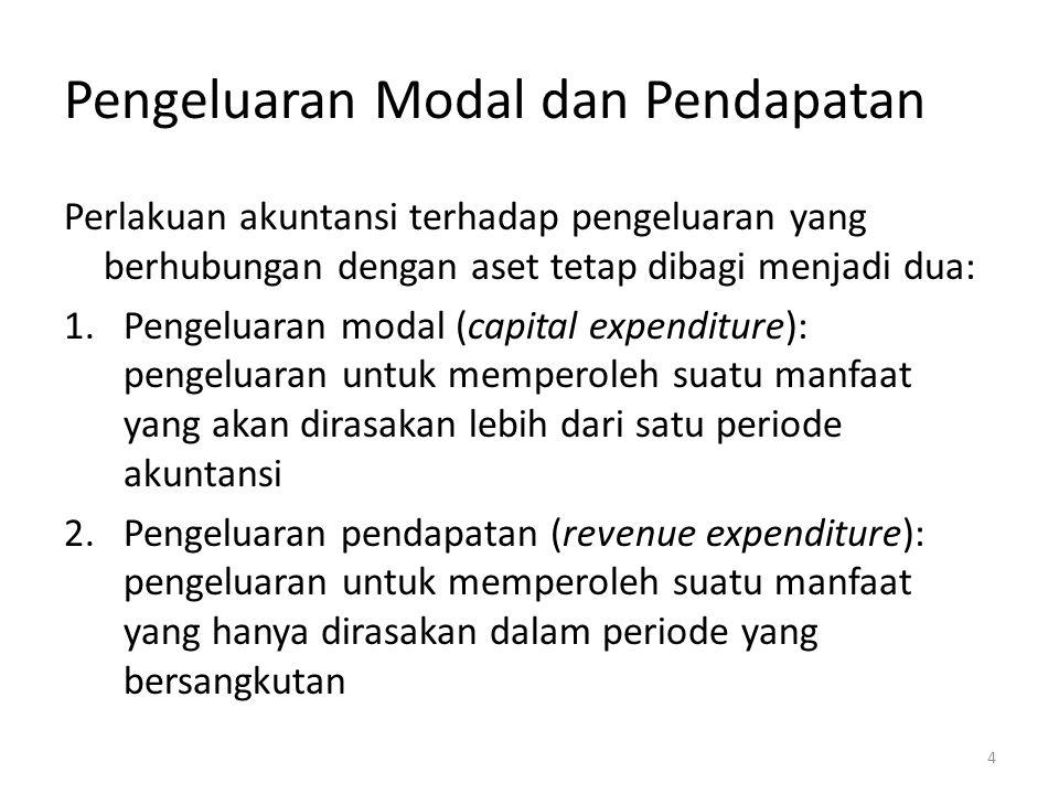 Pengeluaran Modal dan Pendapatan Perlakuan akuntansi terhadap pengeluaran yang berhubungan dengan aset tetap dibagi menjadi dua: 1.Pengeluaran modal (capital expenditure): pengeluaran untuk memperoleh suatu manfaat yang akan dirasakan lebih dari satu periode akuntansi 2.Pengeluaran pendapatan (revenue expenditure): pengeluaran untuk memperoleh suatu manfaat yang hanya dirasakan dalam periode yang bersangkutan 4