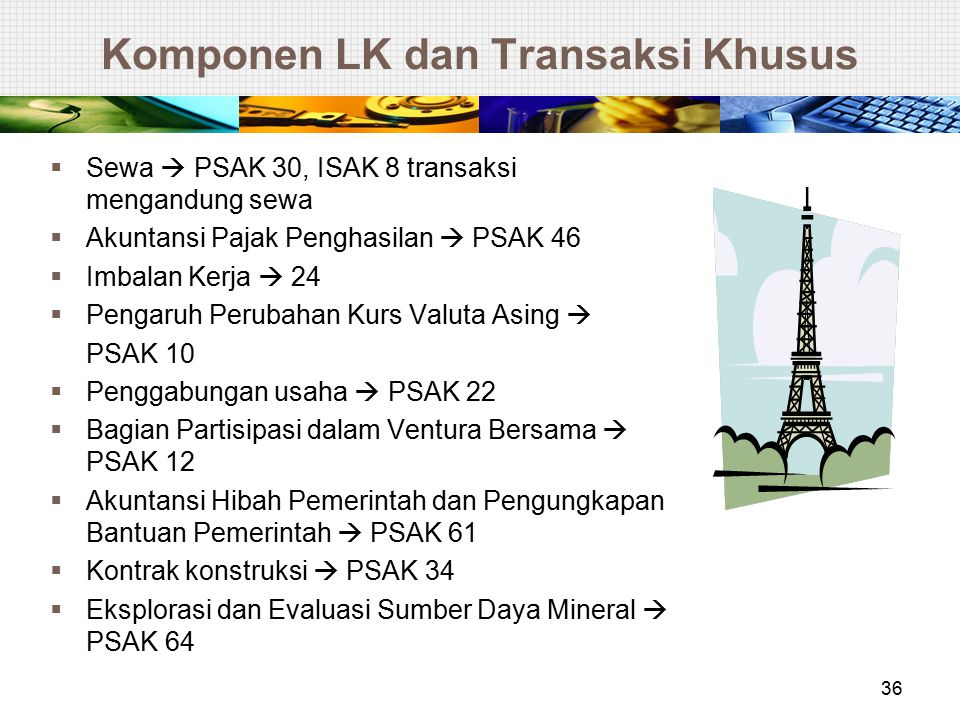 Komponen LK dan Transaksi Khusus  Sewa  PSAK 30, ISAK 8 transaksi mengandung sewa  Akuntansi Pajak Penghasilan  PSAK 46  Imbalan Kerja  24  Pen
