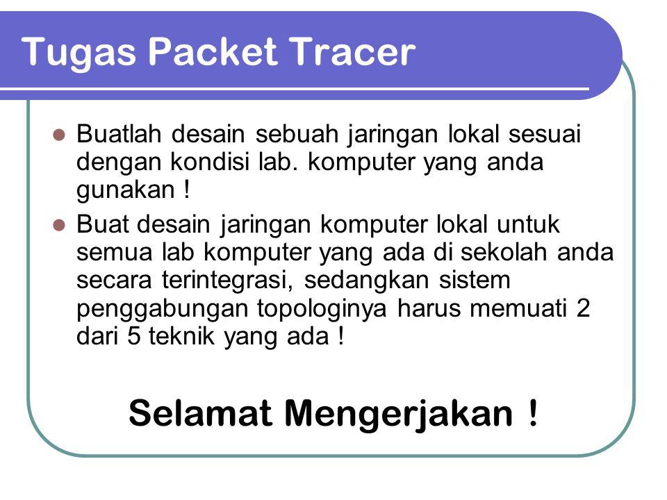 Tugas Packet Tracer Buatlah desain sebuah jaringan lokal sesuai dengan kondisi lab. komputer yang anda gunakan ! Buat desain jaringan komputer lokal u