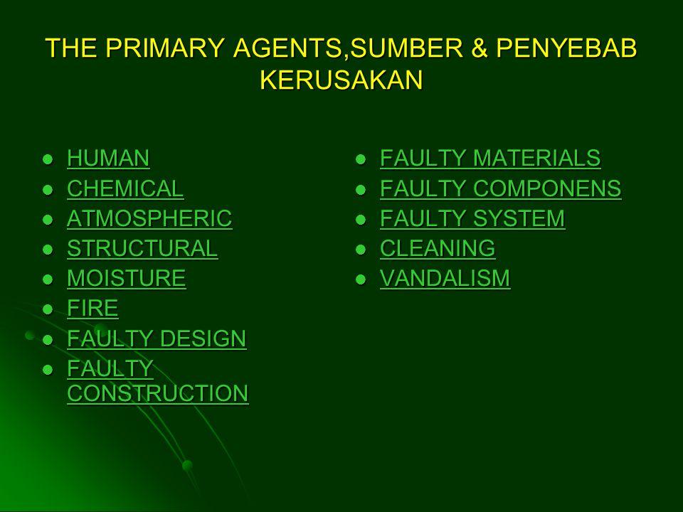 THE PRIMARY AGENTS,SUMBER & PENYEBAB KERUSAKAN HUMAN HUMAN HUMAN CHEMICAL CHEMICAL CHEMICAL ATMOSPHERIC ATMOSPHERIC ATMOSPHERIC STRUCTURAL STRUCTURAL