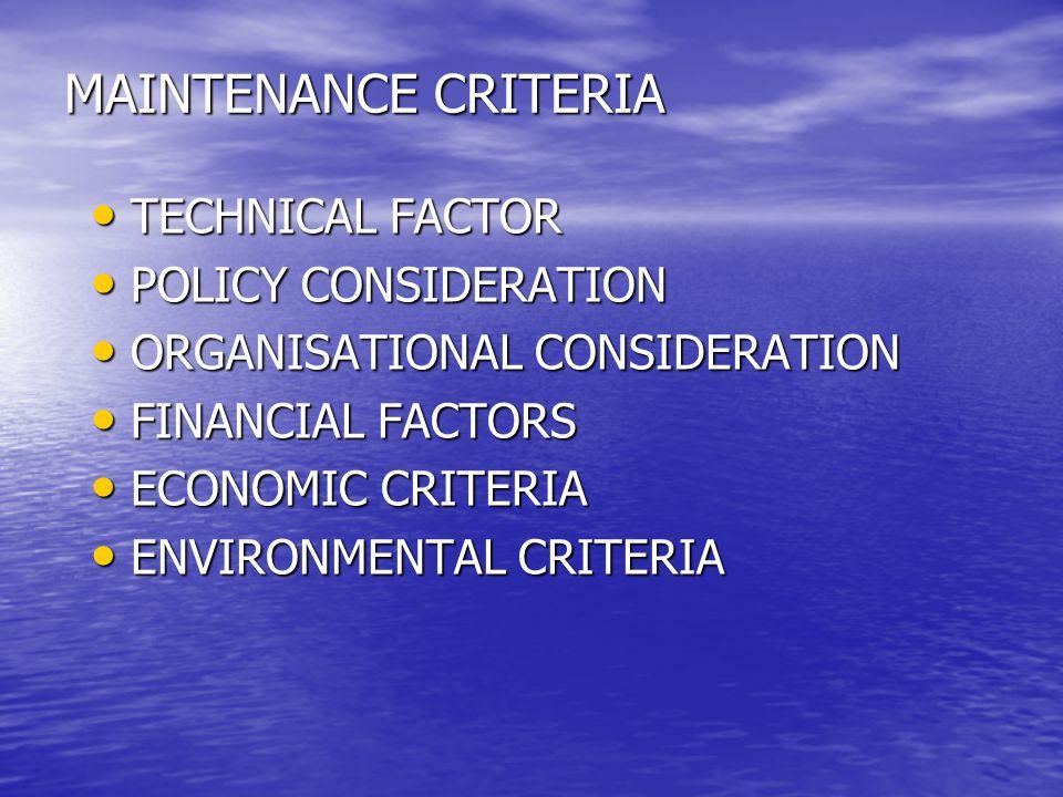 MAINTENANCE CRITERIA TECHNICAL FACTOR TECHNICAL FACTOR POLICY CONSIDERATION POLICY CONSIDERATION ORGANISATIONAL CONSIDERATION ORGANISATIONAL CONSIDERA