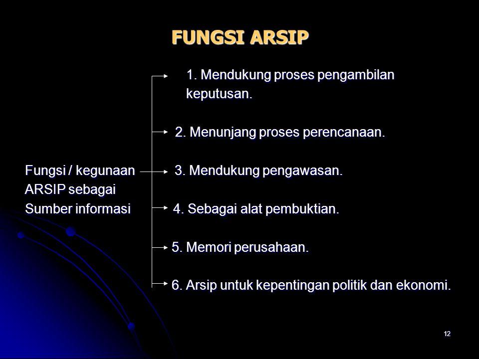 11 FUNGSI ARSIP Pasal 2 UU No.7/1971 Pasal 2 UU No.7/1971 Fungsi ARSIP 1. ARSIP DINAMIS  Arsip yang digunakan secara langsung dalam perencanaan, pela