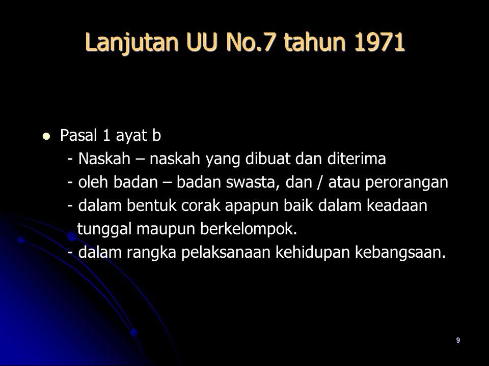 8 PENGERTIAN ARSIP UNDANG – UNDANG NO. 7 TAHUN 1971 TENTANG KETENTUAN – KETENTUAN POKOK KEARSIPAN Pasal 1 ayat a : - Naskah – naskah yang dibuat dan d