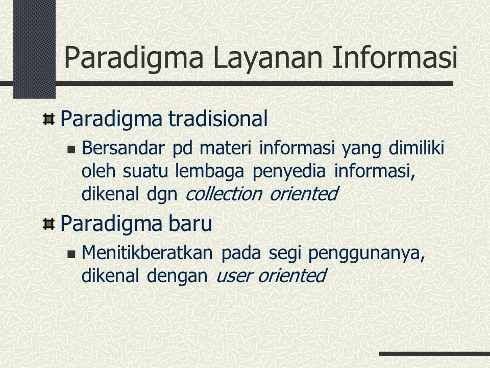 Paradigma Layanan Informasi Paradigma tradisional Bersandar pd materi informasi yang dimiliki oleh suatu lembaga penyedia informasi, dikenal dgn colle