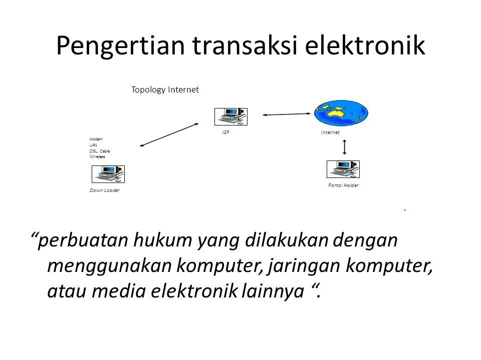 Alat Bukti Elektronik Dalam rangka mengarahkan aktivitas dan perkembangan dalam cyberspace, khususnya mendorong dan mengarahkan perkembangan e-commerce di Indonesia, maka pengaturan khusus dan tegas tentang keabsahan dan kekuatan hukum dokumen elektronik sebagai alat bukti yang sah menjadi hal yang tidak dapat ditawar-tawar lagi