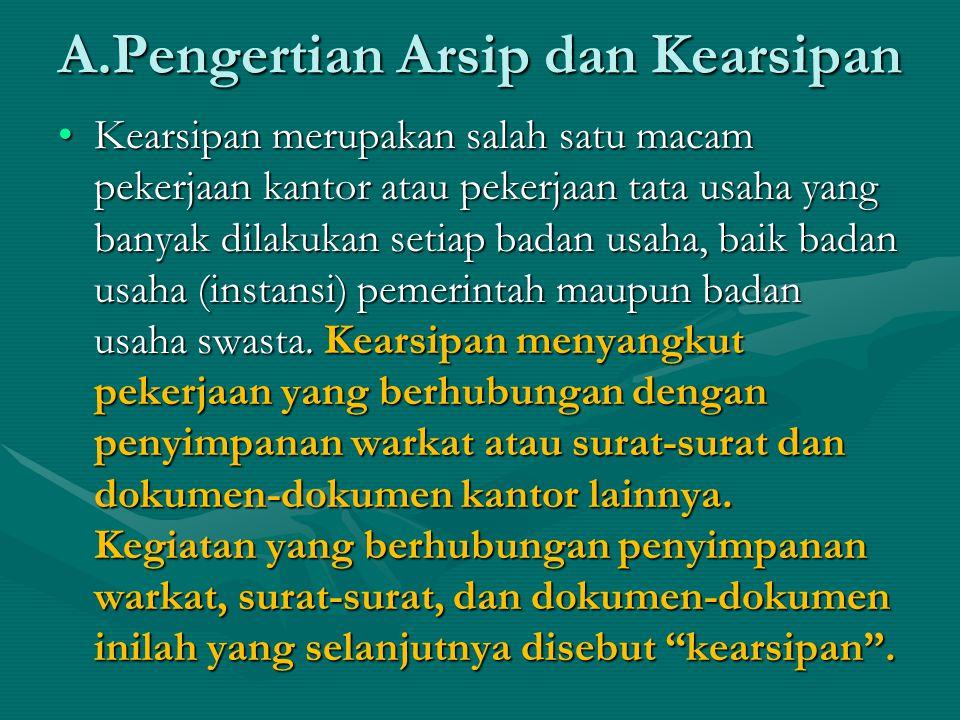 Pengertian Arsip menurut Istilah BahasaPengertian Arsip menurut Istilah Bahasa Dilihat dari segi asal katanya, istilah arsip berasal dari bahasa Yunani archivum artinya tempat untuk menyimpan.