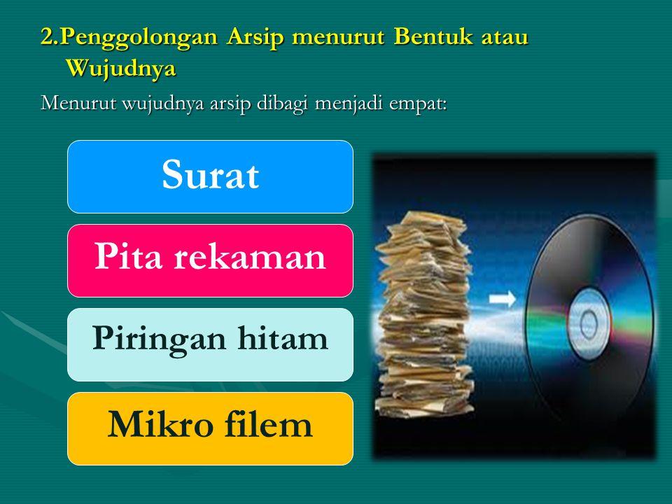 2.Penggolongan Arsip menurut Bentuk atau Wujudnya Menurut wujudnya arsip dibagi menjadi empat: Surat Pita rekaman Piringan hitam Mikro filem