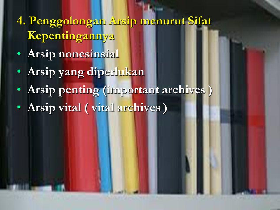4. Penggolongan Arsip menurut Sifat Kepentingannya Arsip nonesinsialArsip nonesinsial Arsip yang diperlukanArsip yang diperlukan Arsip penting (import