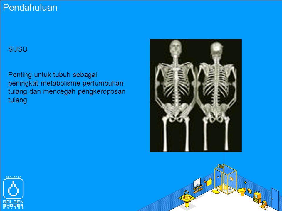 Pendahuluan SUSU Penting untuk tubuh sebagai peningkat metabolisme pertumbuhan tulang dan mencegah pengkeroposan tulang