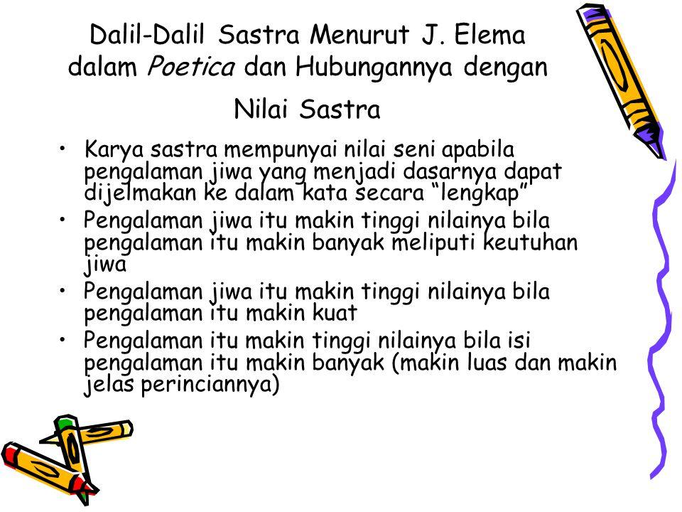 Dalil-Dalil Sastra Menurut J. Elema dalam Poetica dan Hubungannya dengan Nilai Sastra Karya sastra mempunyai nilai seni apabila pengalaman jiwa yang m