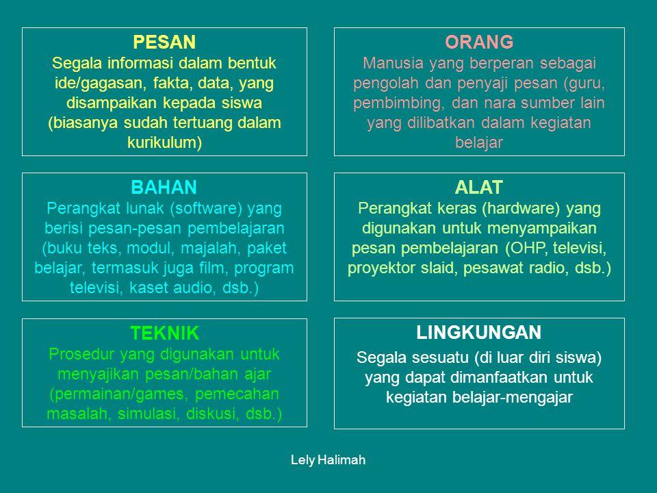 Lely Halimah PESAN (Message) ORANG (People) BAHAN (Material) ALAT (Tool & Equipment) TEKNIK (Technique) LINGKUNGAN (Environment) KLASIFIKASI SUMBER BELAJAR SUMBER BELAJAR
