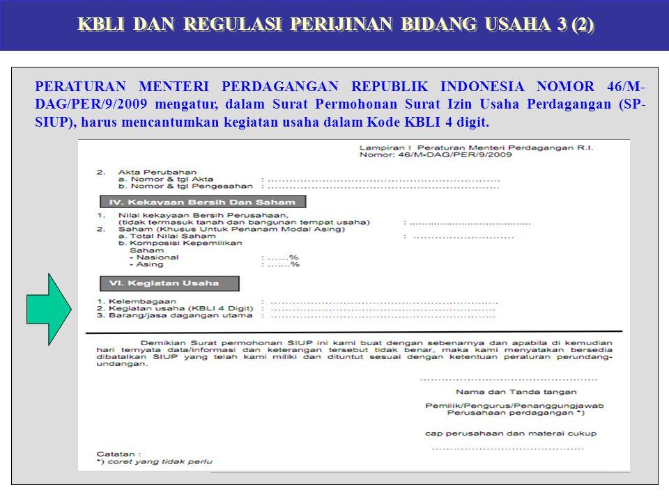KBLI DAN REGULASI PERIJINAN BIDANG USAHA 3 (2) PERATURAN MENTERI PERDAGANGAN REPUBLIK INDONESIA NOMOR 46/M- DAG/PER/9/2009 mengatur, dalam Surat Permohonan Surat Izin Usaha Perdagangan (SP- SIUP), harus mencantumkan kegiatan usaha dalam Kode KBLI 4 digit.