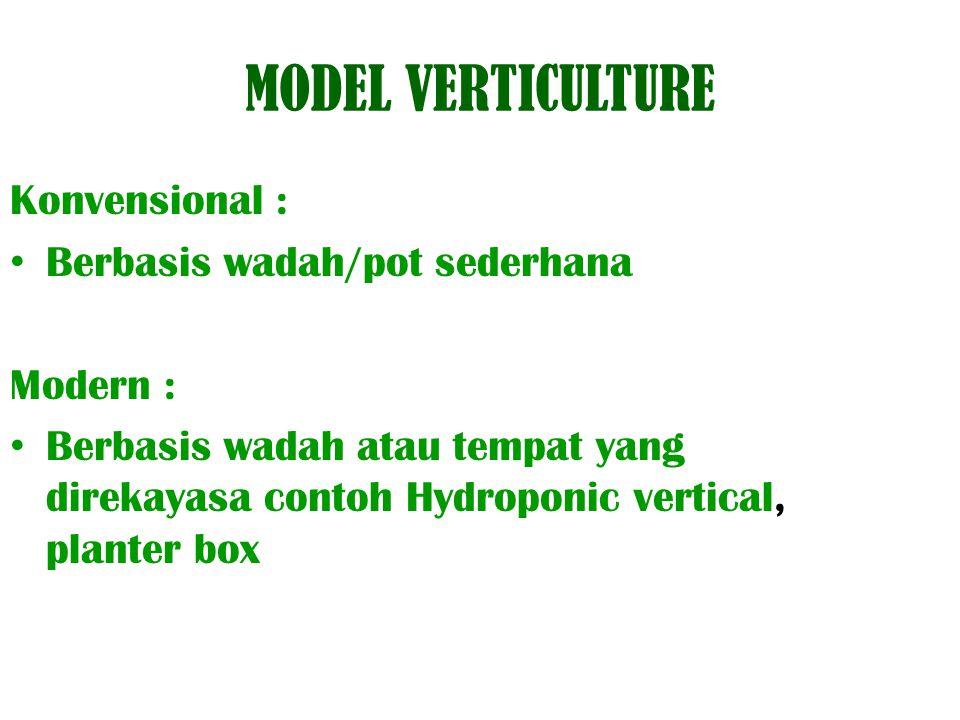 MODEL VERTICULTURE Konvensional : Berbasis wadah/pot sederhana Modern : Berbasis wadah atau tempat yang direkayasa contoh Hydroponic vertical, planter box