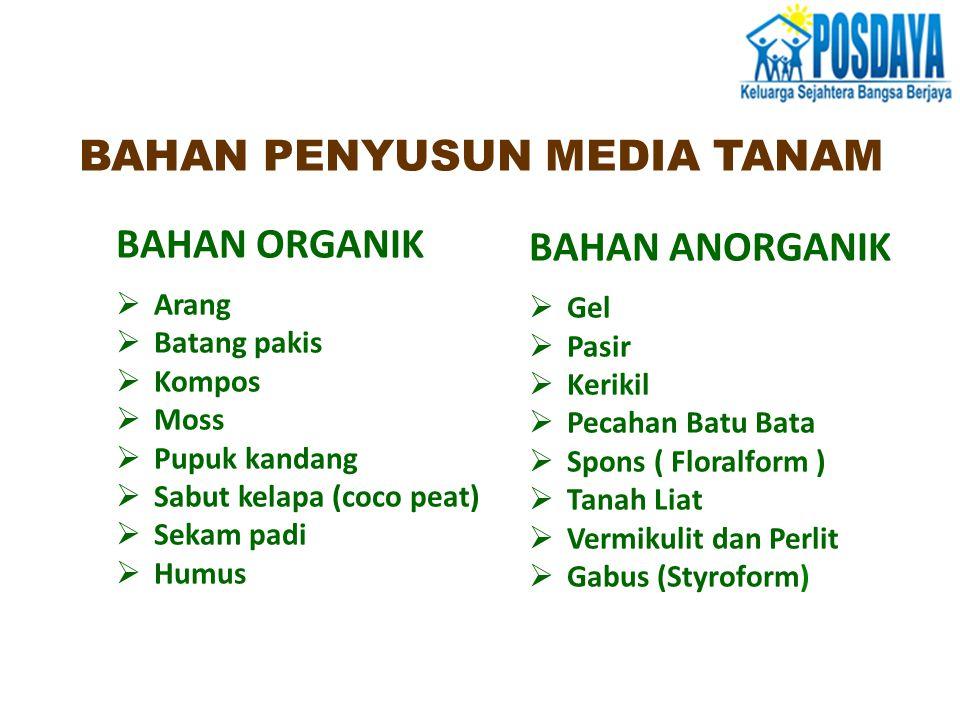 BAHAN ORGANIK  Arang  Batang pakis  Kompos  Moss  Pupuk kandang  Sabut kelapa (coco peat)  Sekam padi  Humus BAHAN ANORGANIK  Gel  Pasir  K