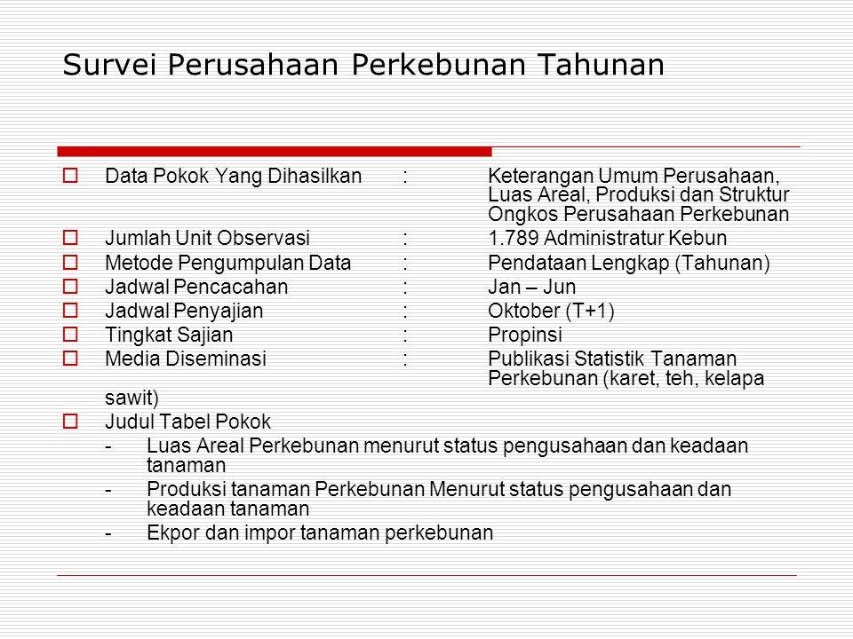 Survei Perusahaan Perkebunan Tahunan  Data Pokok Yang Dihasilkan:Keterangan Umum Perusahaan, Luas Areal, Produksi dan Struktur Ongkos Perusahaan Perkebunan  Jumlah Unit Observasi :1.789 Administratur Kebun  Metode Pengumpulan Data:Pendataan Lengkap (Tahunan)  Jadwal Pencacahan : Jan – Jun  Jadwal Penyajian :Oktober (T+1)  Tingkat Sajian : Propinsi  Media Diseminasi:Publikasi Statistik Tanaman Perkebunan (karet, teh, kelapa sawit)  Judul Tabel Pokok - Luas Areal Perkebunan menurut status pengusahaan dan keadaan tanaman - Produksi tanaman Perkebunan Menurut status pengusahaan dan keadaan tanaman - Ekpor dan impor tanaman perkebunan