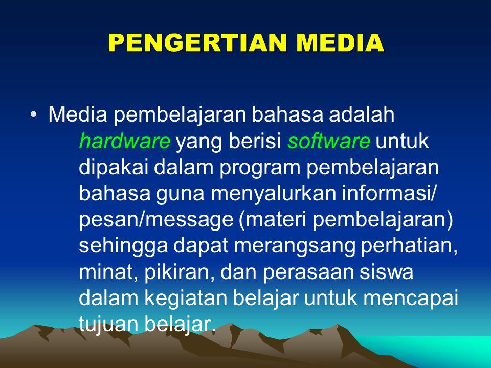 MEDIA PEMBELAJARAN : alat (peralatan) yang diisi dengan program untuk menyalurkan informasi (materi pembelajaran) sehingga dapat merangsang perhatian,