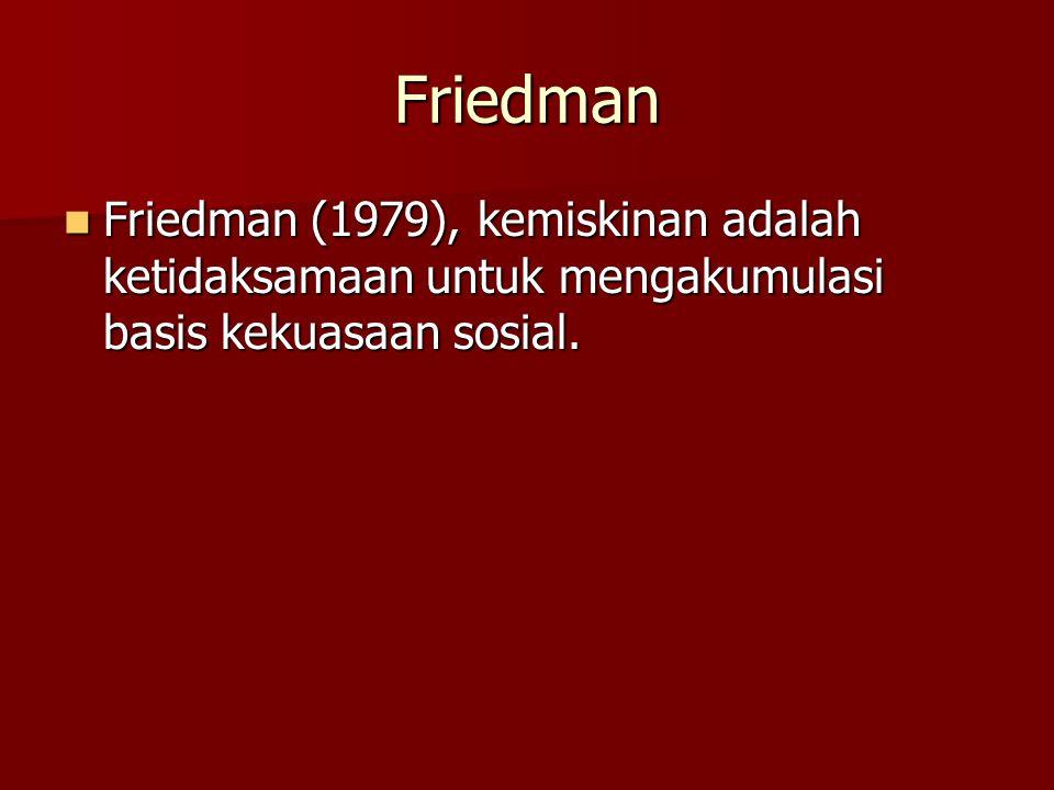Friedman Friedman (1979), kemiskinan adalah ketidaksamaan untuk mengakumulasi basis kekuasaan sosial. Friedman (1979), kemiskinan adalah ketidaksamaan