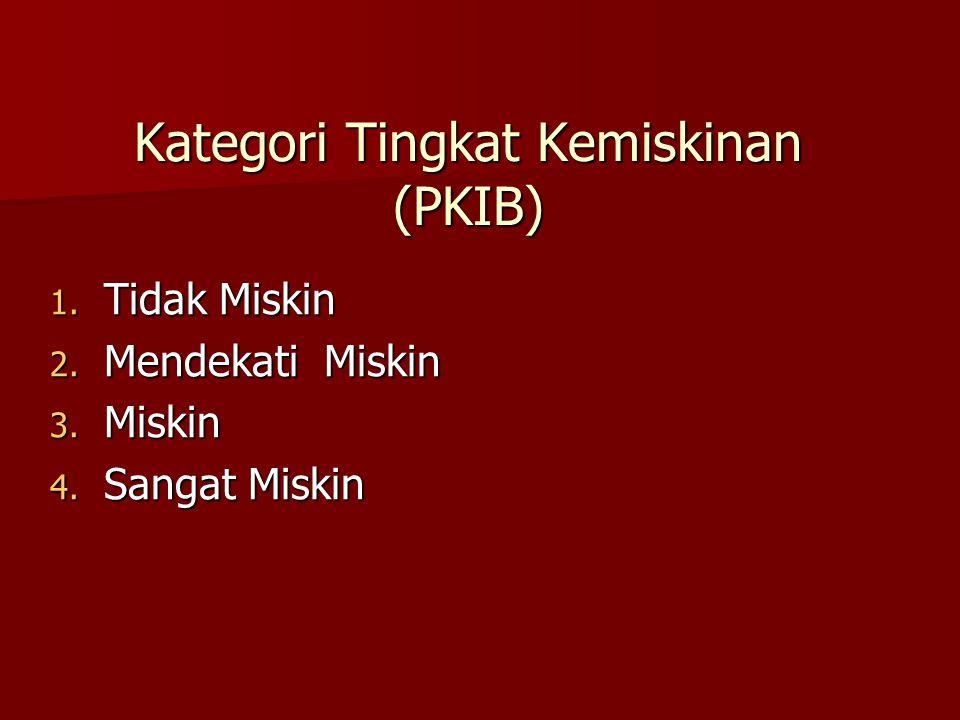 Kategori Tingkat Kemiskinan (PKIB) 1. Tidak Miskin 2. Mendekati Miskin 3. Miskin 4. Sangat Miskin