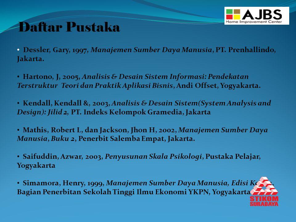 Daftar Pustaka Dessler, Gary, 1997, Manajemen Sumber Daya Manusia, PT.