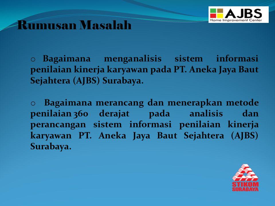Rumusan Masalah o Bagaimana menganalisis sistem informasi penilaian kinerja karyawan pada PT. Aneka Jaya Baut Sejahtera (AJBS) Surabaya. o Bagaimana m