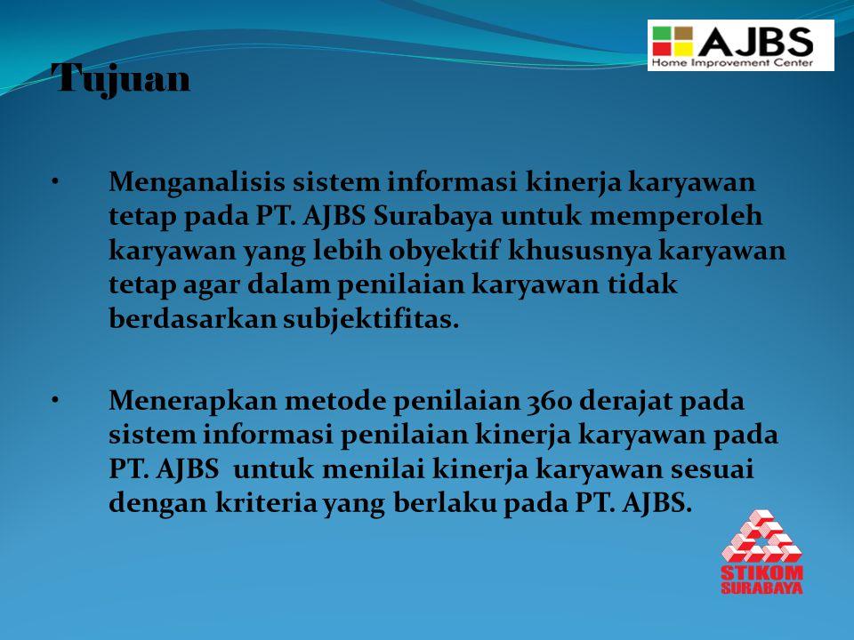 Tujuan Menganalisis sistem informasi kinerja karyawan tetap pada PT. AJBS Surabaya untuk memperoleh karyawan yang lebih obyektif khususnya karyawan te