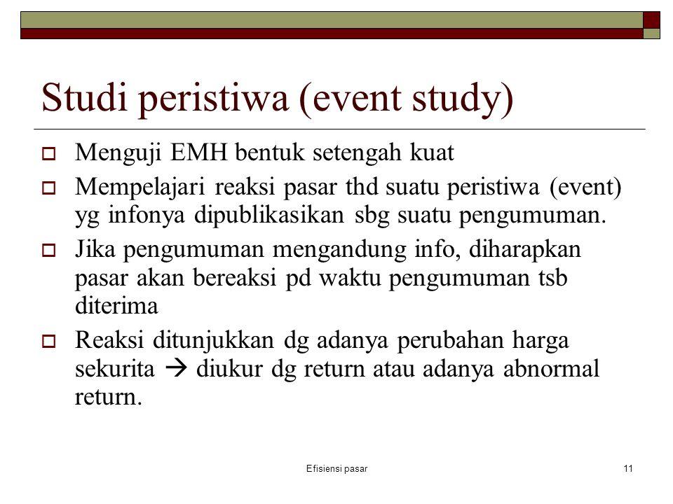 Efisiensi pasar11 Studi peristiwa (event study)  Menguji EMH bentuk setengah kuat  Mempelajari reaksi pasar thd suatu peristiwa (event) yg infonya d