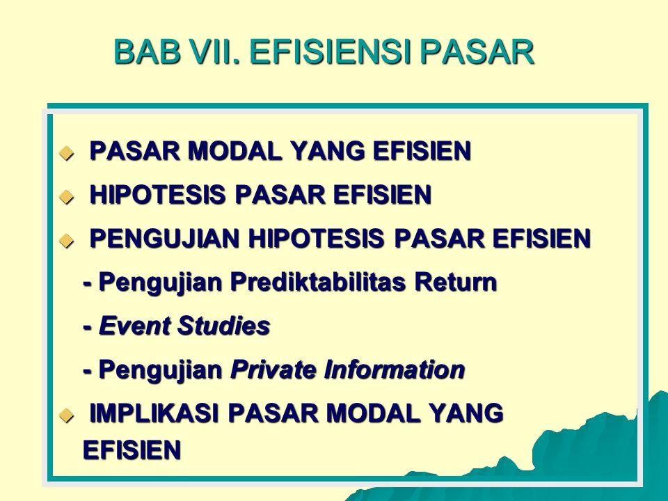 BAB VII. EFISIENSI PASAR  PASAR MODAL YANG EFISIEN  HIPOTESIS PASAR EFISIEN  PENGUJIAN HIPOTESIS PASAR EFISIEN - Pengujian Prediktabilitas Return -