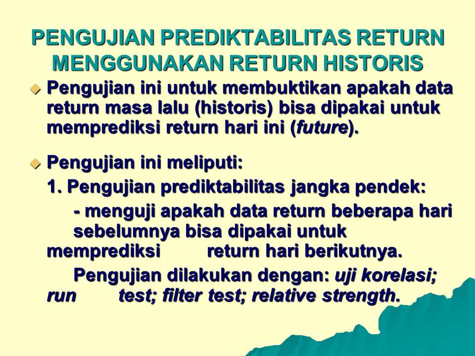 PENGUJIAN PREDIKTABILITAS RETURN MENGGUNAKAN RETURN HISTORIS  Pengujian ini untuk membuktikan apakah data return masa lalu (historis) bisa dipakai un