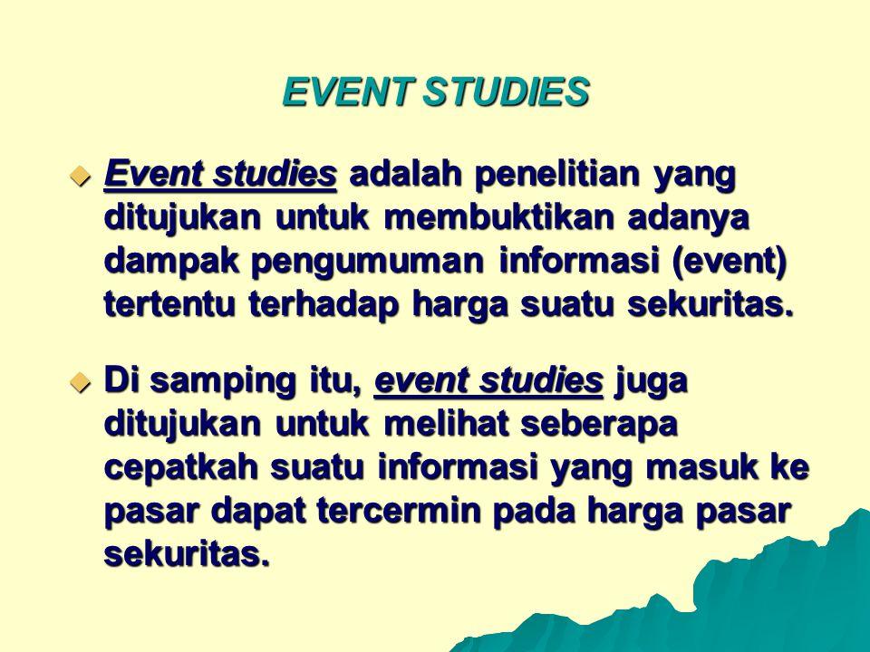 EVENT STUDIES  Event studies adalah penelitian yang ditujukan untuk membuktikan adanya dampak pengumuman informasi (event) tertentu terhadap harga su