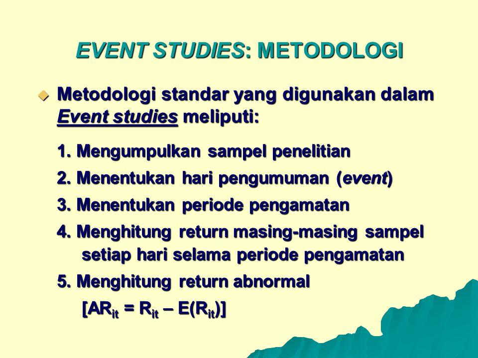EVENT STUDIES: METODOLOGI  Metodologi standar yang digunakan dalam Event studies meliputi: 1. Mengumpulkan sampel penelitian 2. Menentukan hari pengu