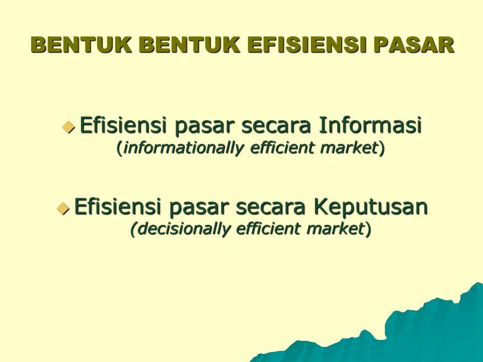 KONSEP PASAR YANG EFISIEN  Konsep pasar yang efisien menyiratkan adanya suatu proses penyesuaian harga sekuritas menuju harga keseimbangan yang baru, sebagai respon atas informasi baru yang masuk ke pasar.