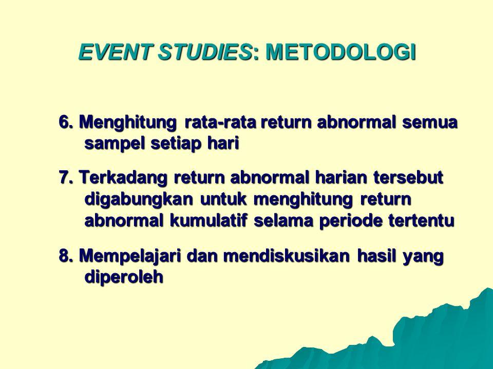 EVENT STUDIES: METODOLOGI 6. Menghitung rata-rata return abnormal semua sampel setiap hari 7. Terkadang return abnormal harian tersebut digabungkan un